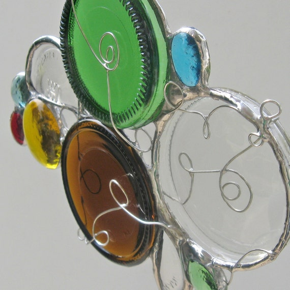 Circles Recycled and Repurposed Stained Glass Suncatcher- OOAK