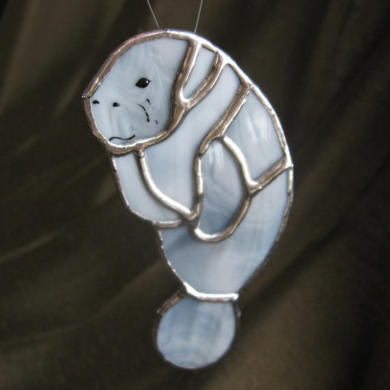 Manatee Ocean Animal Stained Glass Suncatcher and Home Decor