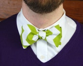 Green and White Zig Zag Bow Tie- As Featured in BRIDES Magazine