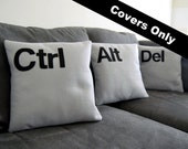 "Ctrl - Alt - Del  Three Pillow Set- COVERS ONLY As seen on CBS ""Two and a Half Men"""