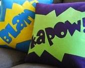 Kapow and other fun onomatopoeias- Set of FIVE Eco Friendly Pillows