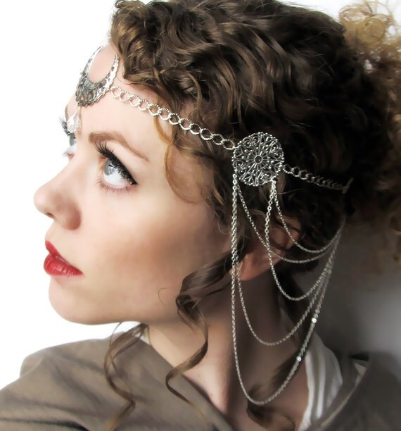 RESERVED Silver Moon Goddess Head Piece