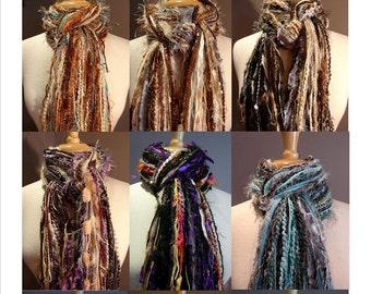 Fringie-3-Pack Large Fringies - All Fringe Scarf - You Pick 3 Multi-texture hand tied fringe scarves Discounted!