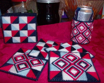Summertime Table Set- Red, White and Blue Table Decor- Napkin Holder, Coasters and Can or Cup Holder