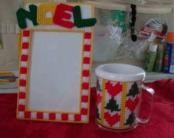 Fun Holiday Gift Set, Christmas Picture Frame and Mug, Noel Picture Frame and Christmas Mug
