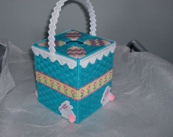 Easter Basket & Bunny Tissue Box Cover, Needlepoint Easter Basket Tissue Box Cover