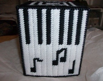 Music Lovers Tissue Cover, Black and White Music Notes Tissue Box Cover