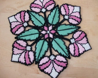 Floral Stained Glass Doily, Spring Table Decor, Spring Floral Doily for Table