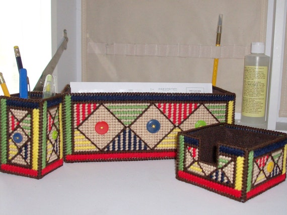Needlepoint Patchwork Desk Set - Needlepoint Primary Colors Desk Set - Geometric Desk Set - Pencil Holder - Note Holder - Letter Holder