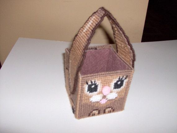Needlepoint Bunny Basket-Needlepoint Brown Bunny Basket-Needlepoint Easter Basket-Needlepoint Small Easter Basket-Bunny Easter Basket