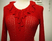 Red Knit Sweater Dress - AMAZING - sm/med