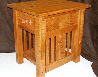 Built-to-Order,  Mission Style End Table Arts and Crafts, Carved Oak Leaf Side Panels Walnut Dovetail