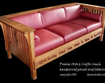 Built-to-Order, Mission Prairie Couch, Arts and Crafts Style, Quarterawn White Oak, Handcarved PanelsLeather Upholstery