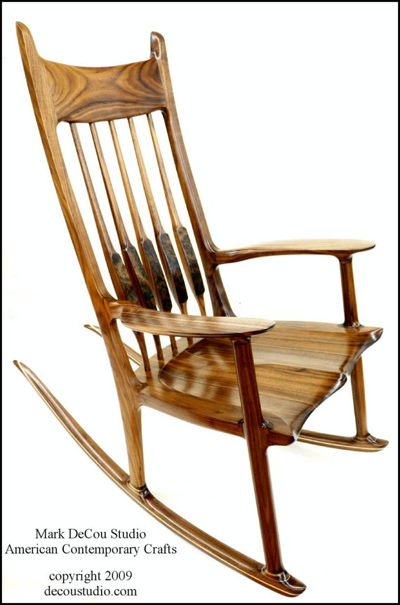 Built To Order, Sam Maloof Inspired Handmade Rocking Chair Black Walnut  Modern Contemporary Rocker