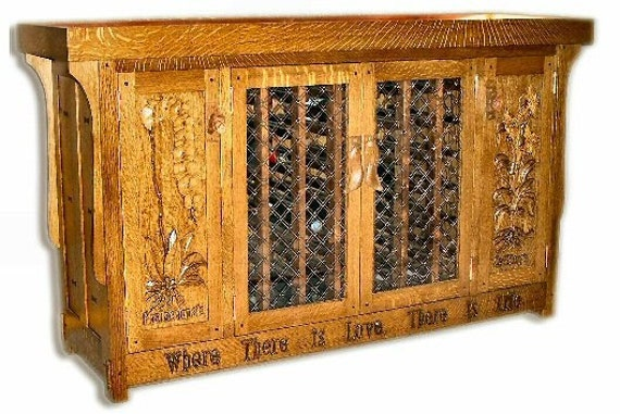 Built-to-Order,  Orchid Stand and Wine Cabinet Arts and Crafts Handcarved  Hammered Copper Hardware Carved Door Panels