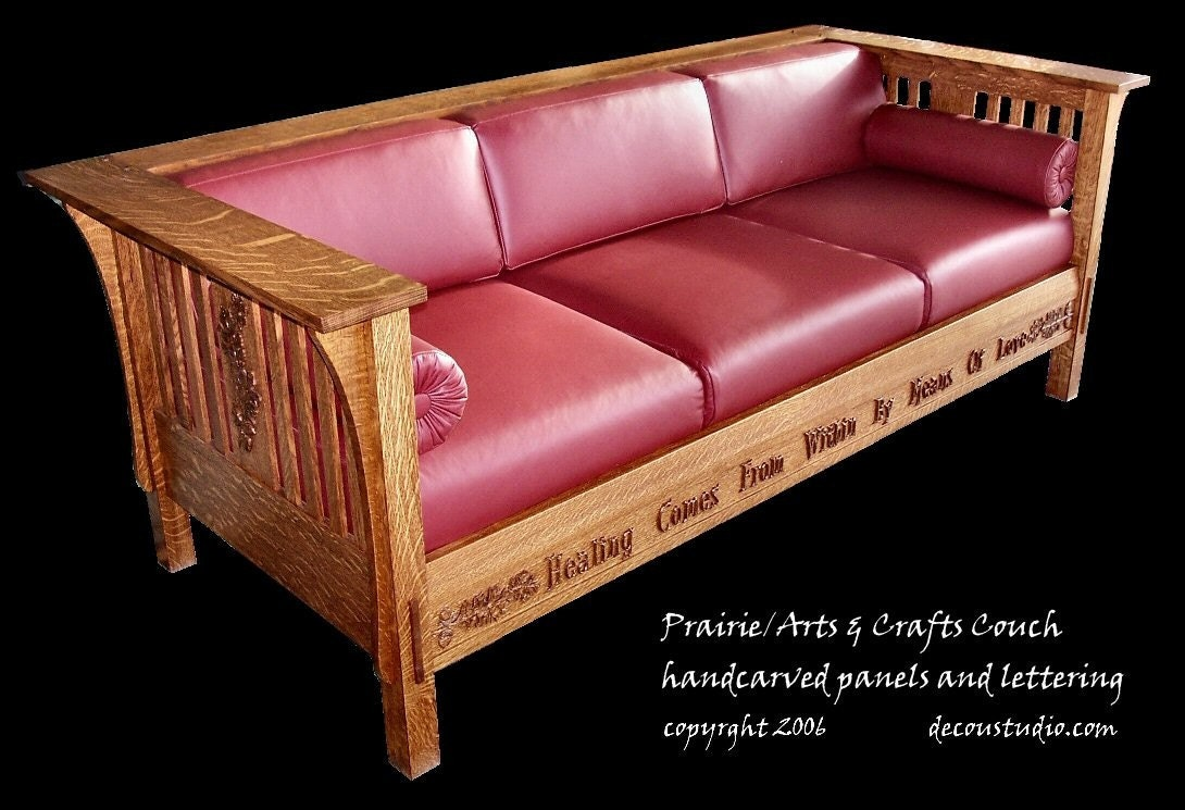 built to order mission prairie couch arts and crafts style On arts and crafts couch