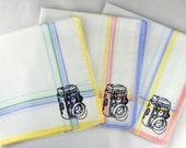 Camera Handkerchiefs, 3 Silk-Screened Sneezy Sheets