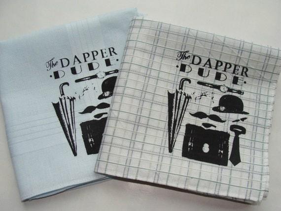 Handkerchiefs, 2 Silk-Screened Dapper Dude Sneezy Sheets