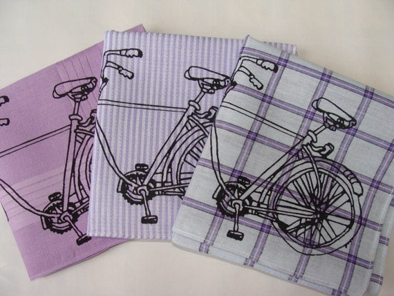 Handkerchiefs, 3 Silk-Screened Sneezy Sheets, Bicycle Print