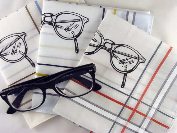 Handkerchiefs, 3 Silk-Screened Sneezy Sheets, Eyeglass Print