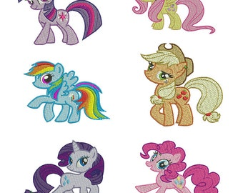 SET OF 6 My Little Pony Embroidery Design Files - Pick Your Size & Format
