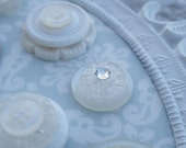 6 Button Magnets Or Push Pins-White, Cream, Clear & Swarovski Crystals