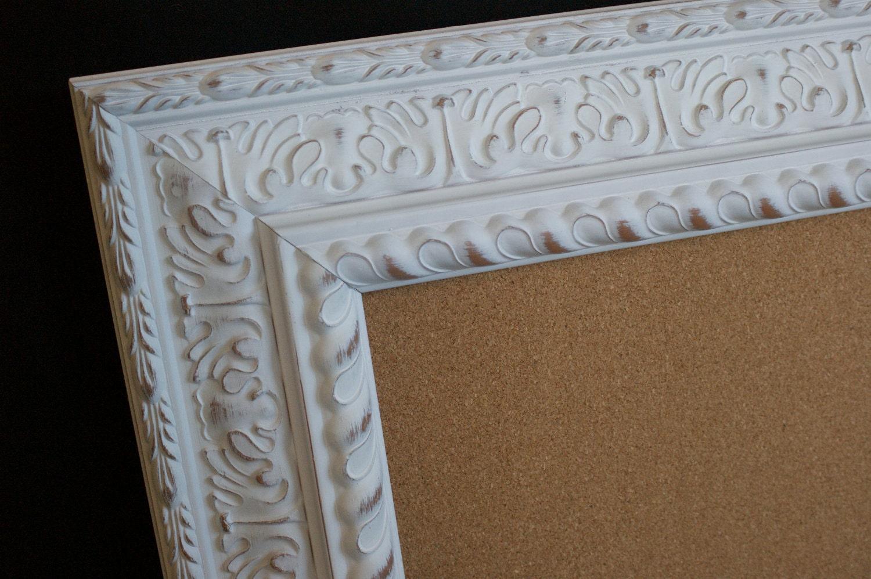 cork board large white frame distressed wedding escort. Black Bedroom Furniture Sets. Home Design Ideas