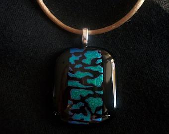 Black N Blue Exposed Dichroic Fused  Art Glass Pendant 10CB29B -  DUNE GLASS