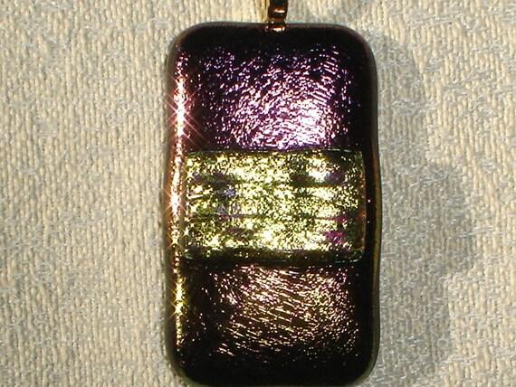 Dichroic on Purple and Gold metallic Fused Art Glass Pendant 4IR061 - Dune Glass