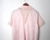 90s rose babydoll pajama top with lace cut out