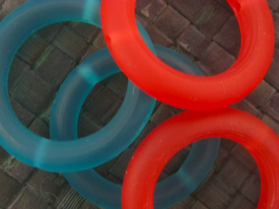 SALE - LARGE -Turquoise and Flouro ORANGE - Donut - Bead Frame - Bright - 4 pcs - 40 mm