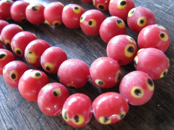 LAST in STOCK - Polka Dot - Glass Beads - Red Yellow Black - 26 pcs - 12 mm