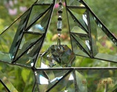 Double stained glass pyramid with clear beveled glass and crystal prism