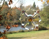 stained glass beveled glass suncather with amber accent and topaz crystal