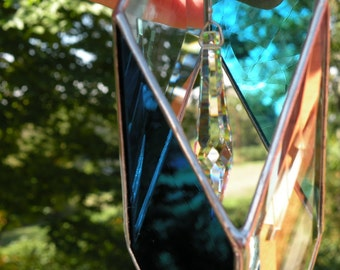 3D Stained Glass sun catcher teals with crystal window hanging