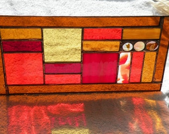 stained glass rectangular earthtones geometric window panel