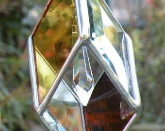 AMBER STAINED GLASS geometric suncatcher