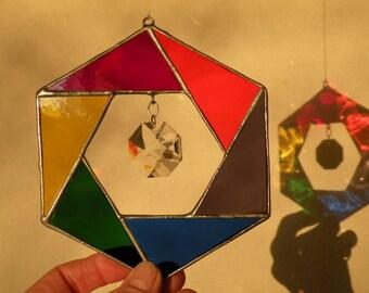 Rainbow Hexagon with crystal