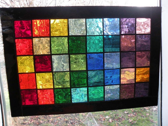 Colorful Stained Glass Panel with  rainbow of colors black boarder rectangular panel