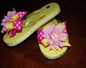 ADORABLE RIBBON FLIP FLOPS - BOWS - CUSTOMIZE COLORS