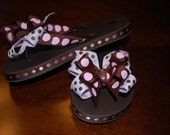 ADORABLE CUSTOM KIDS RIBBON FLIP FLOPS - PAGEANT