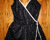 Vintage black and white dot surplice swimsuit