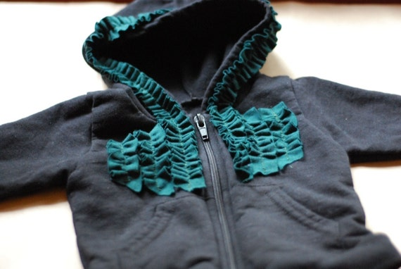 ruffled zip up hoodie
