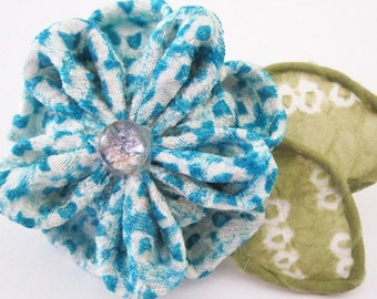 Teal Flower Brooch Pin SALE