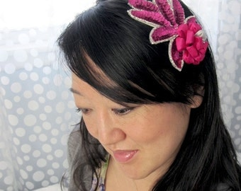 Magenta Silk and Sequins Tsumami Kanzashi Headband SALE