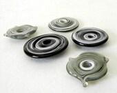 Black, Charcoal and White Discs   - Handmade Lampwork Disc Beads - SRA