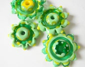 On Sale Lampwork Beads Set of 5 Large Focal Flower Discs (Nile Green, Emerald Green and Lemon Yellow)
