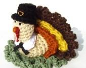 Turkey Pattern - Crochet Pattern - Thanksgiving Crochet - Crochet Pilgrim - Crochet Bath Scrubbie - PDF INSTANT DOWNLOAD