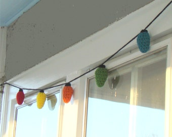Christmas Lights Garland Crochet Pattern with 3 size Bulbs INSTANT DOWNLOAD
