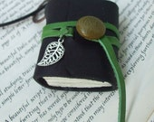 Leaf book necklace - small leather journal with silver leaf